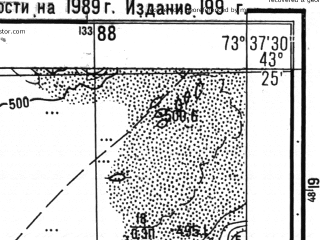 Reduced fragment of topographic map ru--gs--025k--k43-016-3-3--N043-25_E073-30-00--N043-20_E073-37-30