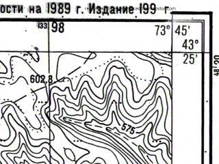 Reduced fragment of topographic map ru--gs--025k--k43-016-3-4--N043-25_E073-37-30--N043-20_E073-45-00