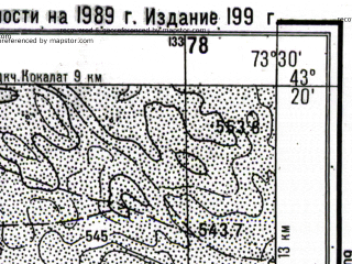 Reduced fragment of topographic map ru--gs--025k--k43-027-2-2--N043-20_E073-22-30--N043-15_E073-30-00