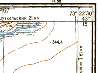 Reduced fragment of topographic map ru--gs--025k--k43-027-2-3--N043-15_E073-15-00--N043-10_E073-22-30