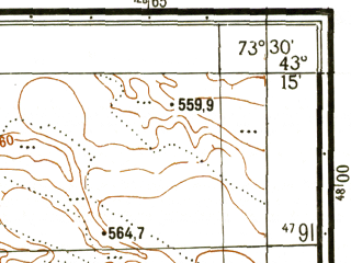 Reduced fragment of topographic map ru--gs--025k--k43-027-2-4--N043-15_E073-22-30--N043-10_E073-30-00