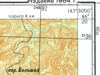 Reduced fragment of topographic map ru--gs--025k--l54-071-2-2--N046-20_E143-22-30--N046-15_E143-30-00; towns and cities Yuzhnoye