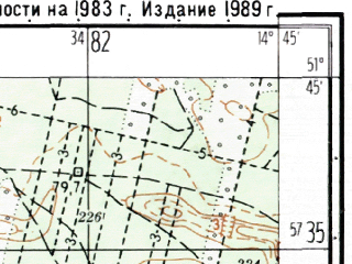 Reduced fragment of topographic map ru--gs--025k--m33-006-3-4--(1989)--N051-45_E014-37-30--N051-40_E014-45-00; towns and cities Forst