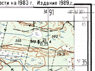 Reduced fragment of topographic map ru--gs--025k--m33-006-4-3--(1989)--N051-45_E014-45-00--N051-40_E014-52-30