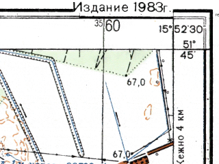 Reduced fragment of topographic map ru--gs--025k--m33-008-4-3--(1983)--N051-45_E015-45-00--N051-40_E015-52-30