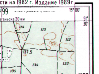 Reduced fragment of topographic map ru--gs--025k--m33-018-4-2--(1989)--N051-30_E014-52-30--N051-25_E015-00-00