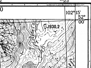 Reduced fragment of topographic map ru--gs--025k--m48-001-1-2--N052-00_E102-07-30--N051-55_E102-15-00