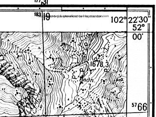 Reduced fragment of topographic map ru--gs--025k--m48-001-2-1--N052-00_E102-15-00--N051-55_E102-22-30