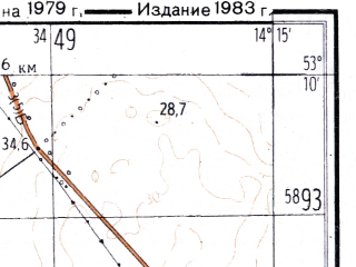 Reduced fragment of topographic map ru--gs--025k--n33-101-3-2--(1983)--N053-10_E014-07-30--N053-05_E014-15-00