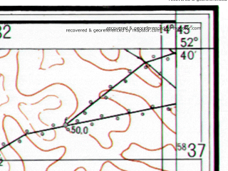 Reduced fragment of topographic map ru--gs--025k--n33-126-1-2--(1955)--N052-40_E014-37-30--N052-35_E014-45-00; towns and cities Kostrzyn