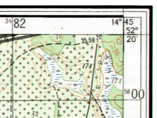 Reduced fragment of topographic map ru--gs--025k--n33-138-1-2--(1956)--N052-20_E014-37-30--N052-15_E014-45-00
