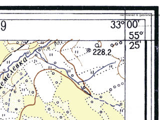Reduced fragment of topographic map ru--gs--025k--n36-018-4-4--(1960)--N055-25_E032-52-30--N055-20_E033-00-00