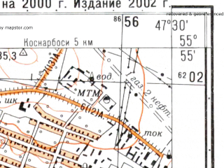 Reduced fragment of topographic map ru--gs--025k--n38-011-2-4--N055-55_E047-22-30--N055-50_E047-30-00; towns and cities Tsivil'sk