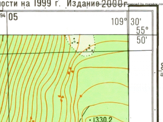 Reduced fragment of topographic map ru--gs--025k--n49-003-4-2--N055-50_E109-22-30--N055-45_E109-30-00
