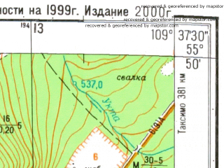 Reduced fragment of topographic map ru--gs--025k--n49-004-3-1--N055-50_E109-30-00--N055-45_E109-37-30; towns and cities Nizhneangarsk