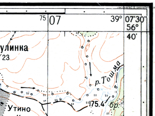 Reduced fragment of topographic map ru--gs--025k--o37-127-1-1--N056-40_E039-00-00--N056-35_E039-07-30; towns and cities Berendeyevo