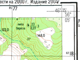 Reduced fragment of topographic map ru--gs--025k--o38-141-3-4--N056-05_E046-07-30--N056-00_E046-15-00; towns and cities Zasurye