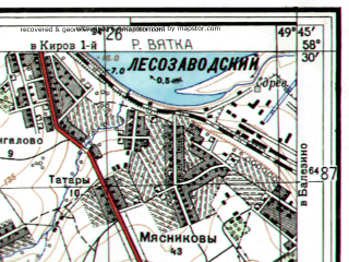 Reduced fragment of topographic map ru--gs--025k--o39-052-3-2--N058-30_E049-37-30--N058-25_E049-45-00; towns and cities Novovyatsk