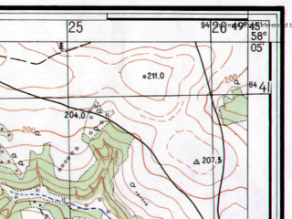 Reduced fragment of topographic map ru--gs--025k--o39-064-3-4--N058-05_E049-37-30--N058-00_E049-45-00