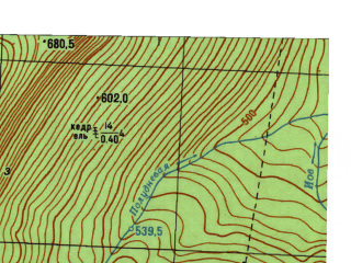 Reduced fragment of topographic map ru--gs--025k--o40-023-1-2--N059-40_E059-07-30--N059-35_E059-15-00