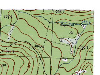 Reduced fragment of topographic map ru--gs--025k--o40-071-2-4--N058-15_E059-22-30--N058-10_E059-30-00