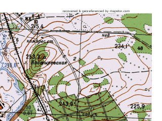 Reduced fragment of topographic map ru--gs--025k--o40-072-3-2--N058-10_E059-37-30--N058-05_E059-45-00; towns and cities Baranchinskiy