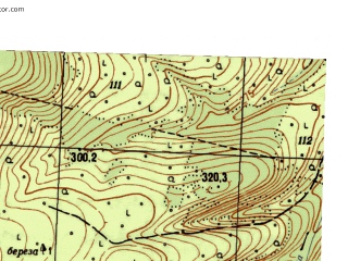 Reduced fragment of topographic map ru--gs--025k--o40-105-1-4--N057-15_E058-07-30--N057-10_E058-15-00