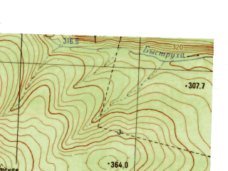 Reduced fragment of topographic map ru--gs--025k--o40-105-3-2--N057-10_E058-07-30--N057-05_E058-15-00