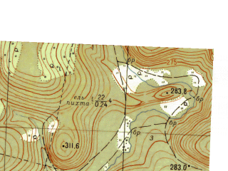 Reduced fragment of topographic map ru--gs--025k--o40-127-2-4--N056-35_E057-22-30--N056-30_E057-30-00