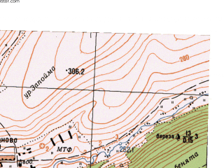 Reduced fragment of topographic map ru--gs--025k--o40-141-2-4--N056-15_E058-22-30--N056-10_E058-30-00