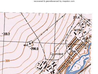 Reduced fragment of topographic map ru--gs--025k--o40-142-3-2--N056-10_E058-37-30--N056-05_E058-45-00; towns and cities Sukhanovka