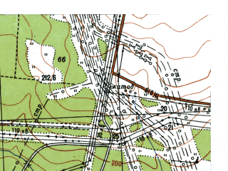 Reduced fragment of topographic map ru--gs--025k--o41-001-3-2--N059-50_E060-07-30--N059-45_E060-15-00; towns and cities Krasnotur'insk