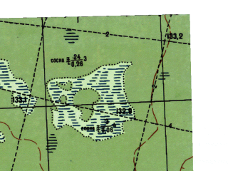 Reduced fragment of topographic map ru--gs--025k--o41-015-2-4--N059-35_E061-22-30--N059-30_E061-30-00; towns and cities Borovoy