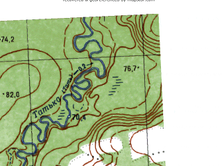 Reduced fragment of topographic map ru--gs--025k--o41-031-3-1--N059-10_E063-00-00--N059-05_E063-07-30