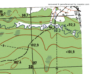 Reduced fragment of topographic map ru--gs--025k--o41-040-4-4--N058-45_E061-52-30--N058-40_E062-00-00
