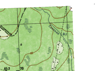 Reduced fragment of topographic map ru--gs--025k--o41-041-4-2--N058-50_E062-22-30--N058-45_E062-30-00; towns and cities Dolgaya Kurya