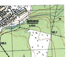 Reduced fragment of topographic map ru--gs--025k--o41-063-4-1--N058-10_E061-15-00--N058-05_E061-22-30; towns and cities Zenkovka