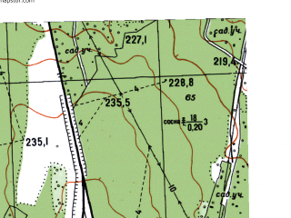 Reduced fragment of topographic map ru--gs--025k--o41-111-4-3--N056-45_E061-15-00--N056-40_E061-22-30; towns and cities Bazhenovo