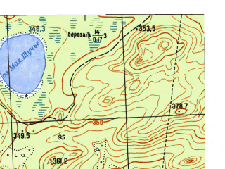 Reduced fragment of topographic map ru--gs--025k--o41-121-4-4--N056-25_E060-22-30--N056-20_E060-30-00