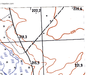 Reduced fragment of topographic map ru--gs--025k--o41-123-2-4--N056-35_E061-22-30--N056-30_E061-30-00