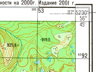 Reduced fragment of topographic map ru--gs--025k--o50-116-4-3--N056-45_E117-45-00--N056-40_E117-52-30