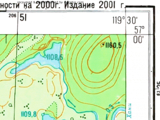 Reduced fragment of topographic map ru--gs--025k--o50-119-2-2--N057-00_E119-22-30--N056-55_E119-30-00
