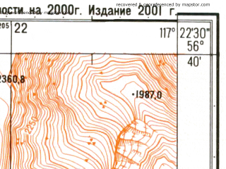 Reduced fragment of topographic map ru--gs--025k--o50-127-2-1--N056-40_E117-15-00--N056-35_E117-22-30