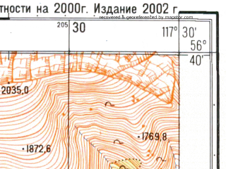 Reduced fragment of topographic map ru--gs--025k--o50-127-2-2--N056-40_E117-22-30--N056-35_E117-30-00