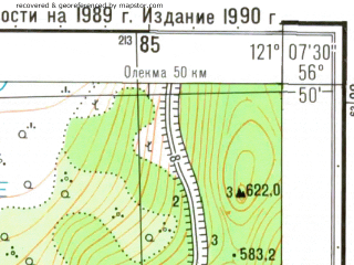 Reduced fragment of topographic map ru--gs--025k--o51-111-3-1--N056-50_E121-00-00--N056-45_E121-07-30