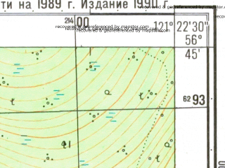 Reduced fragment of topographic map ru--gs--025k--o51-111-4-3--N056-45_E121-15-00--N056-40_E121-22-30