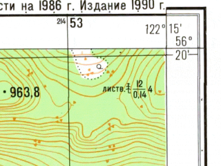 Reduced fragment of topographic map ru--gs--025k--o51-137-1-2--N056-20_E122-07-30--N056-15_E122-15-00