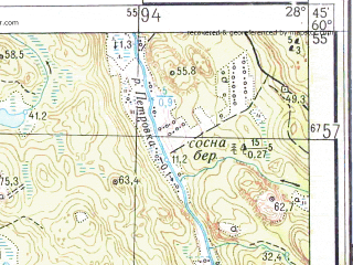 Reduced fragment of topographic map ru--gs--025k--p35-117-1-3_4--N060-55_E028-00-00--N060-50_E028-15-00