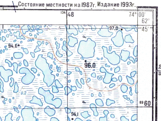 Reduced fragment of topographic map ru--gs--025k--p43-040-4-3_4--N062-45_E073-45-00--N062-40_E074-00-00