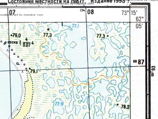 Reduced fragment of topographic map ru--gs--025k--p43-063-3-3_4--N062-05_E073-00-00--N062-00_E073-15-00